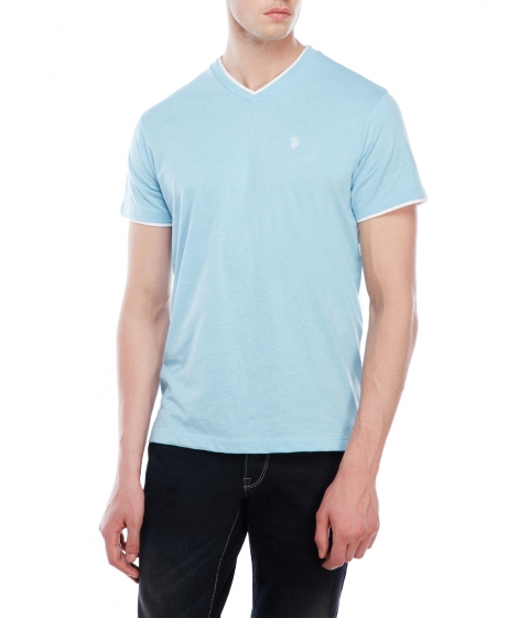 Imbracaminte Barbati US Polo Assn Double V-Neck Tee Blue White