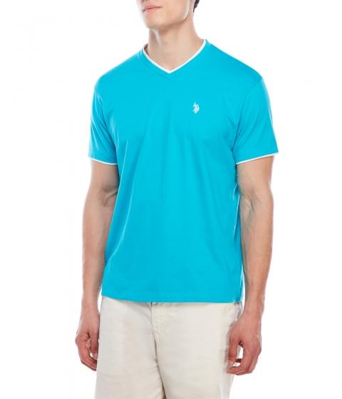 Imbracaminte Barbati US Polo Assn Double V-Neck Tee Turquoise