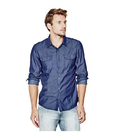 Imbracaminte Barbati GUESS Abney Chambray Shirt blue