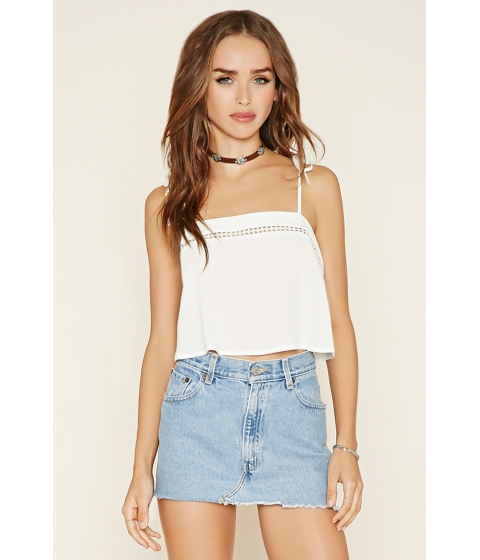 Imbracaminte Femei Forever21 Cutout-Crochet Cropped Cami White