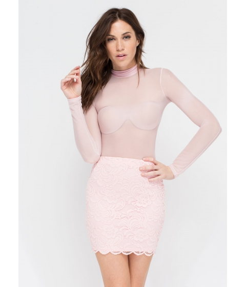 Imbracaminte Femei CheapChic Take Me Away Crochet Miniskirt Blush