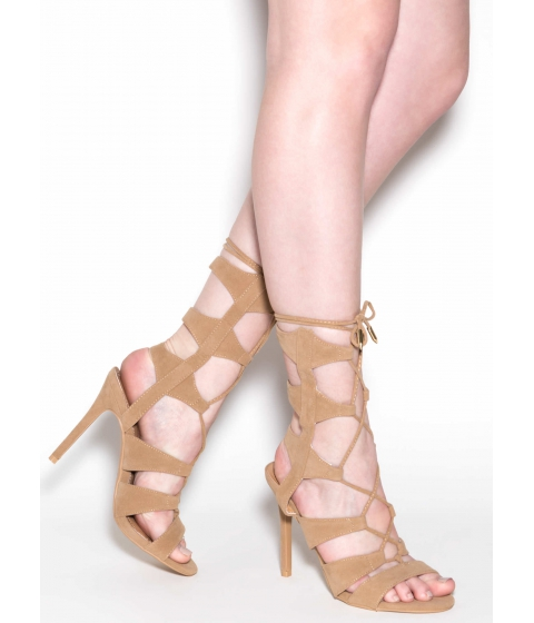 Incaltaminte Femei CheapChic And That's A Strap Faux Suede Heels Camel