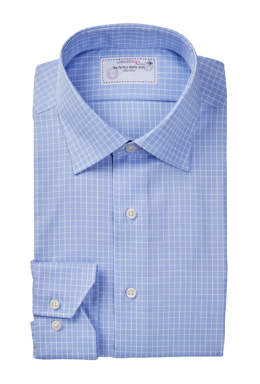Imbracaminte Barbati Lorenzo Uomo Long Sleeve Trim Fit No Wrinkle Check Dress Shirt BLUE