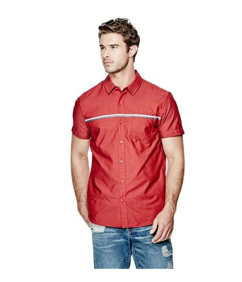 Imbracaminte Barbati GUESS Frederic Pinstripe Shirt red hot multi