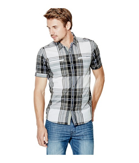 Imbracaminte Barbati GUESS Turner Short-Sleeve Plaid Shirt frost grey