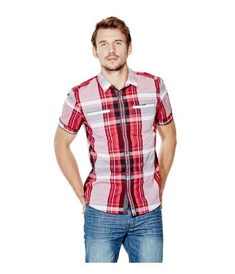 Imbracaminte Barbati GUESS Turner Short-Sleeve Plaid Shirt red hot