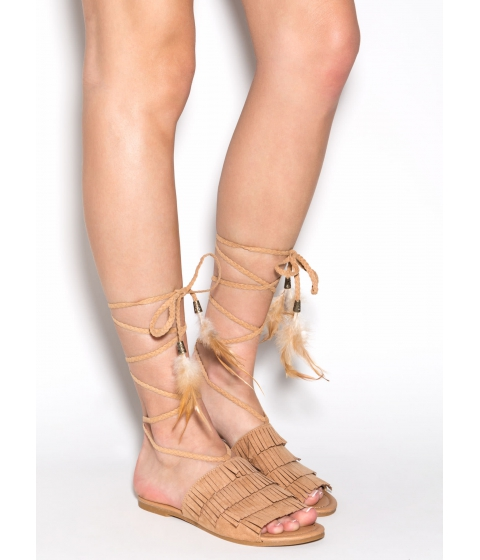 Incaltaminte Femei CheapChic Wind Song Faux Suede Sandals Toffee