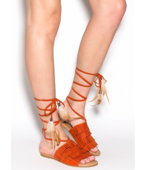 Incaltaminte Femei CheapChic Wind Song Faux Suede Sandals Burntorange