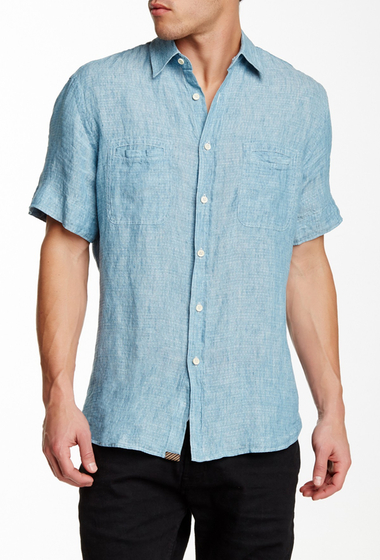 Imbracaminte Barbati Billy Reid Donelson Short Sleeve Linen Shirt AZURE