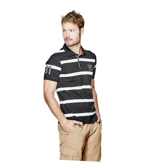 Imbracaminte Barbati GUESS Benham Striped Polo jet black