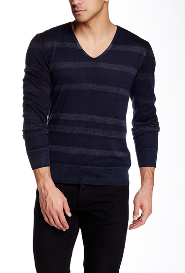 Imbracaminte Barbati John Varvatos V-Neck Long Sleeve Stripe Sweater OFFICER BLUE
