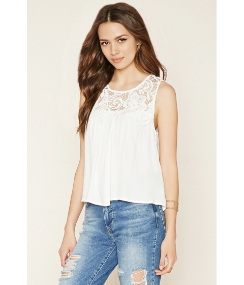 Imbracaminte Femei Forever21 Contemporary Crochet-Panel Top Ivory