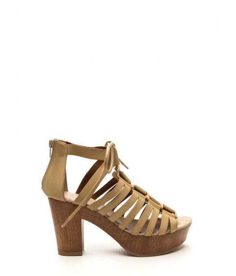 Incaltaminte Femei CheapChic Bond Together Chunky Lace-up Heels Beige