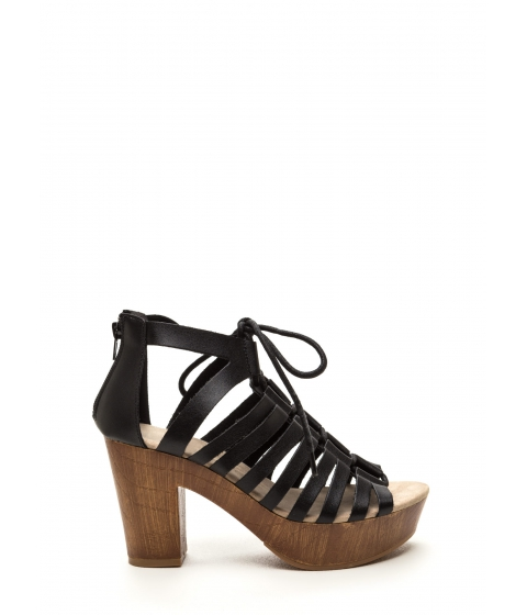 Incaltaminte Femei CheapChic Bond Together Chunky Lace-up Heels Black