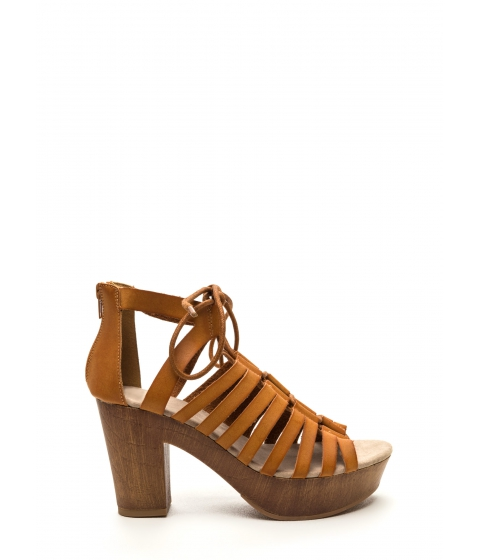Incaltaminte Femei CheapChic Bond Together Chunky Lace-up Heels Camel