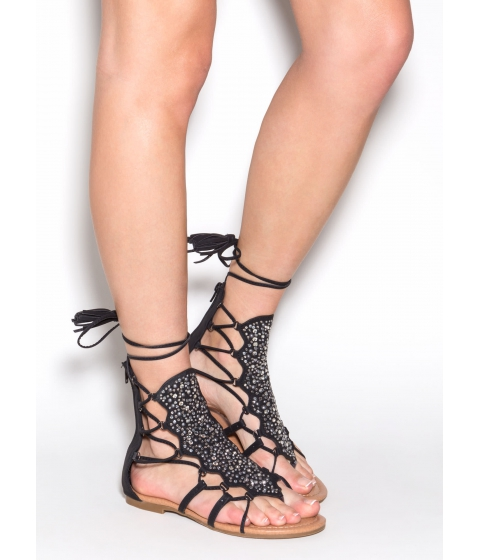 Incaltaminte Femei CheapChic Can't Tame This Embellished Sandals Black