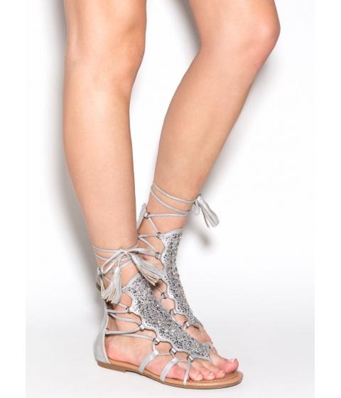 Incaltaminte Femei CheapChic Can't Tame This Embellished Sandals Grey