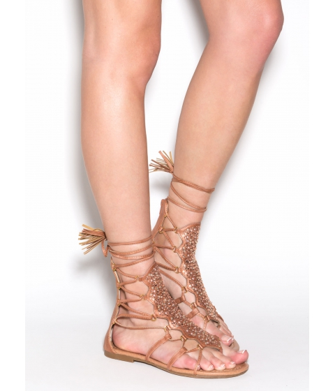 Incaltaminte Femei CheapChic Can't Tame This Embellished Sandals Tan