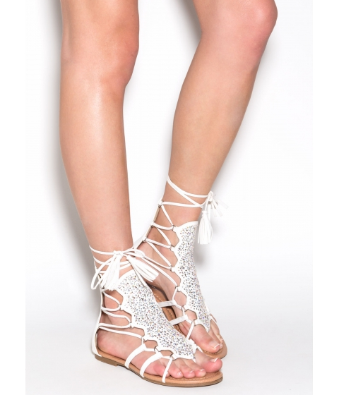 Incaltaminte Femei CheapChic Can't Tame This Embellished Sandals White