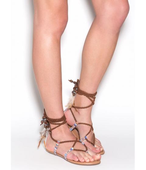 Incaltaminte Femei CheapChic Desert Quest Braided Gladiator Sandals Tan