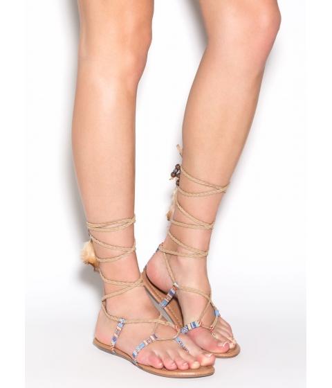 Incaltaminte Femei CheapChic Desert Quest Braided Gladiator Sandals Beige