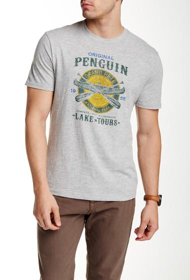 Imbracaminte Barbati Original Penguin Lake Tours Slim Fit Tee RAIN HTHR