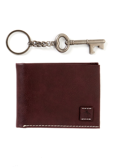 Accesorii Barbati Original Penguin Super Slim Faux Leather Bifold Wallet Bottle Opener Key Chain SUPER SLIM FOLD N KE BROWN