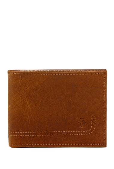 Accesorii Barbati Original Penguin Oil Tan Leather Bifold Wallet OIL TAN PENGUIN TAN