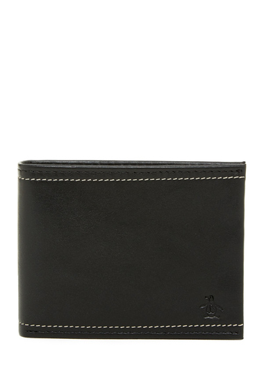 Accesorii Barbati Original Penguin Stitch Leather Bifold Wallet STITCH PENGUIN BLK