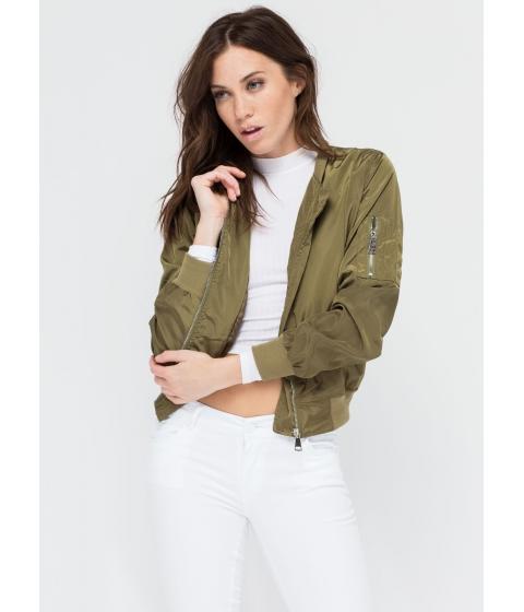 Imbracaminte Femei CheapChic Top It Off Bomber Windbreaker Jacket Olive