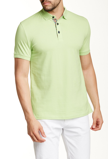 Imbracaminte Barbati Jared Lang Contrast Placket Short Sleeve Polo Lime