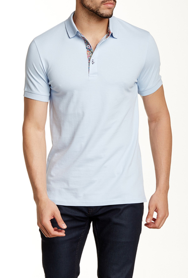 Imbracaminte Barbati Jared Lang Contrast Placket Short Sleeve Polo Sky Blue