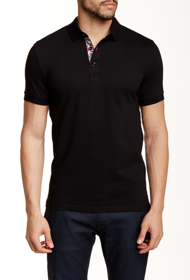 Imbracaminte Barbati Jared Lang Contrast Placket Short Sleeve Polo Black