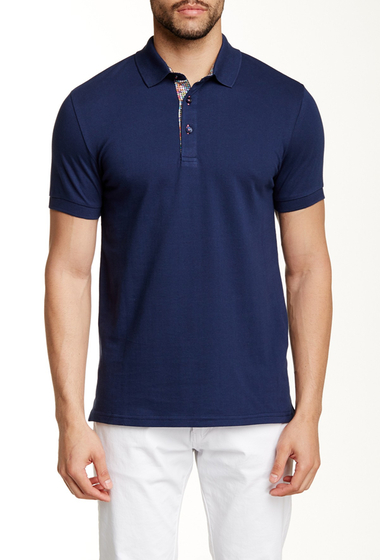 Imbracaminte Barbati Jared Lang Contrast Placket Short Sleeve Polo Navy