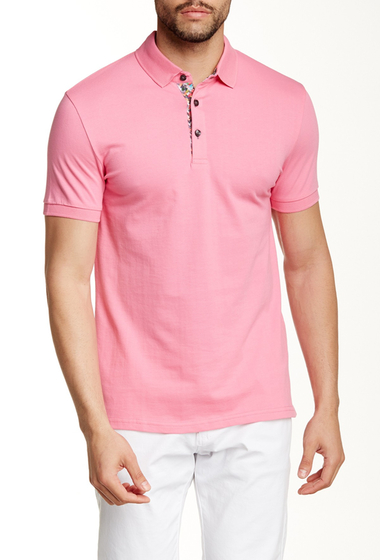 Imbracaminte Barbati Jared Lang Contrast Placket Short Sleeve Polo Fushia