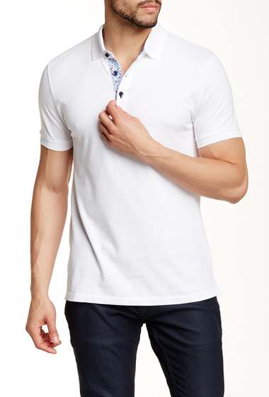 Imbracaminte Barbati Jared Lang Contrast Placket Short Sleeve Polo White