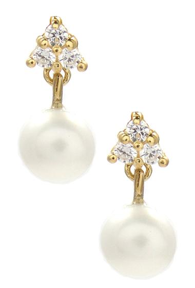 Bijuterii Femei Savvy Cie 5mm Freshwater Pearl CZ Drop Earrings YELLOW-WHITE