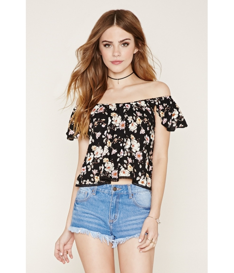 Imbracaminte Femei Forever21 Floral Off-the-Shoulder Top Blackmulti