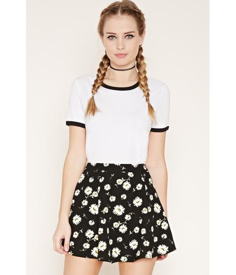 Imbracaminte Femei Forever21 Daisy Print Skater Skirt Blackwhite