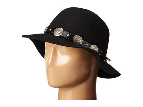 Accesorii Femei San Diego Hat Company WFH8002 Round Crown Floppy with Faux Silver Concho Band Black