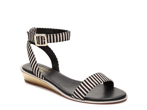 Incaltaminte Femei Nicole Miller Artelier Kenton Stripe Wedge Sandal BlackWhite