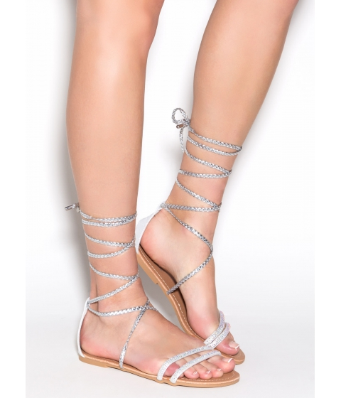 Incaltaminte Femei CheapChic Braid-a Glittery Tie-up Sandals Silver
