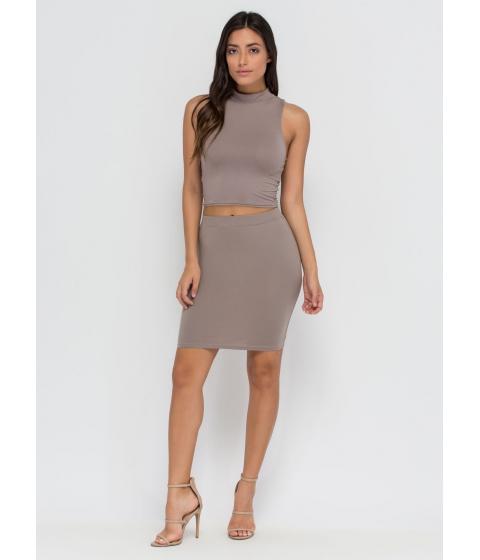 Imbracaminte Femei CheapChic Go Micro Knit Miniskirt Taupe