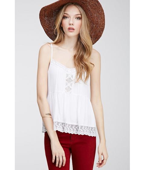 Imbracaminte Femei Forever21 Lace-Ruffled Crochet Cami White