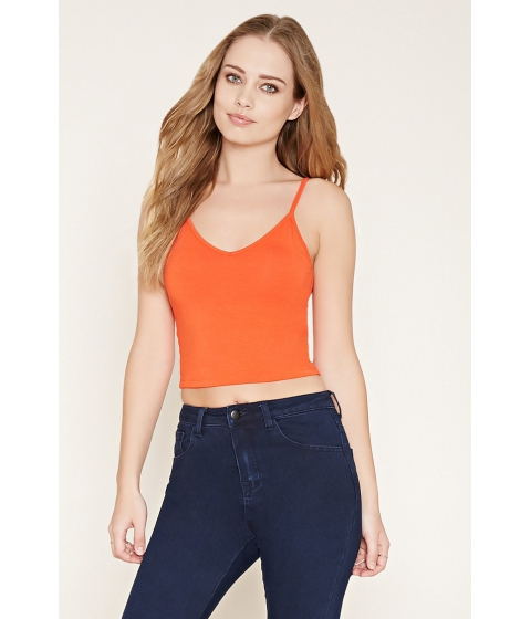 Imbracaminte Femei Forever21 Heathered Knit Cropped Cami Tomato