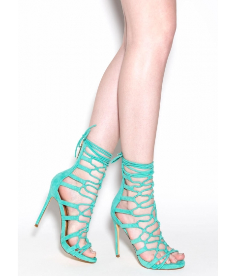 Incaltaminte Femei CheapChic Laced And Loaded Faux Suede Heels Seagreen