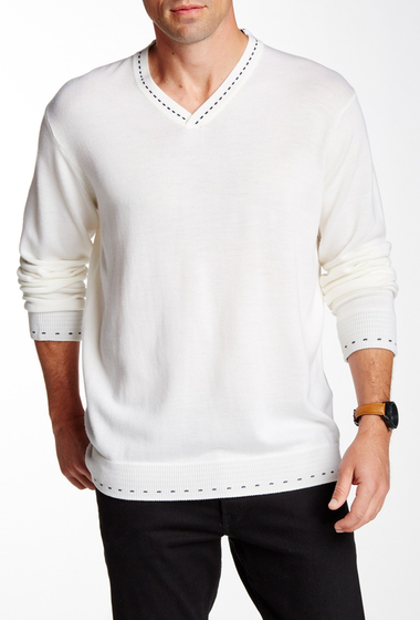 Imbracaminte Barbati Robert Graham New Castle Wool V-Neck Sweater WHITE