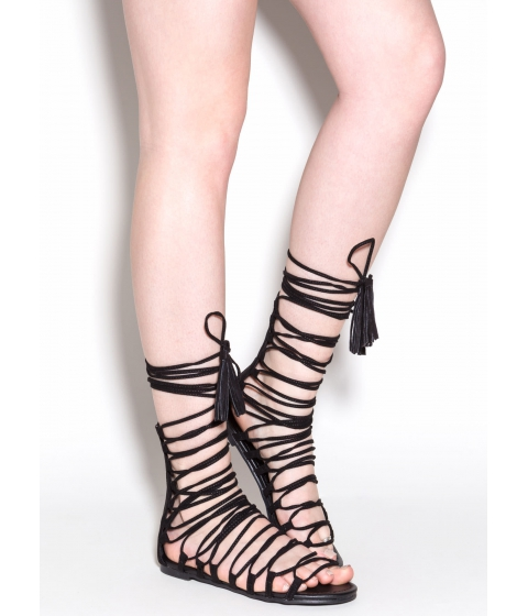 Incaltaminte Femei CheapChic Around And Around Lace-up Sandals Black