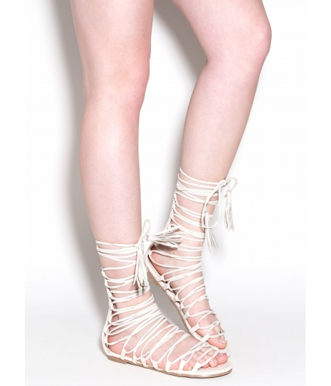 Incaltaminte Femei CheapChic Around And Around Lace-up Sandals Cream