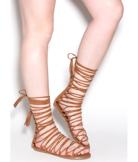 Incaltaminte Femei CheapChic Around And Around Lace-up Sandals Tan